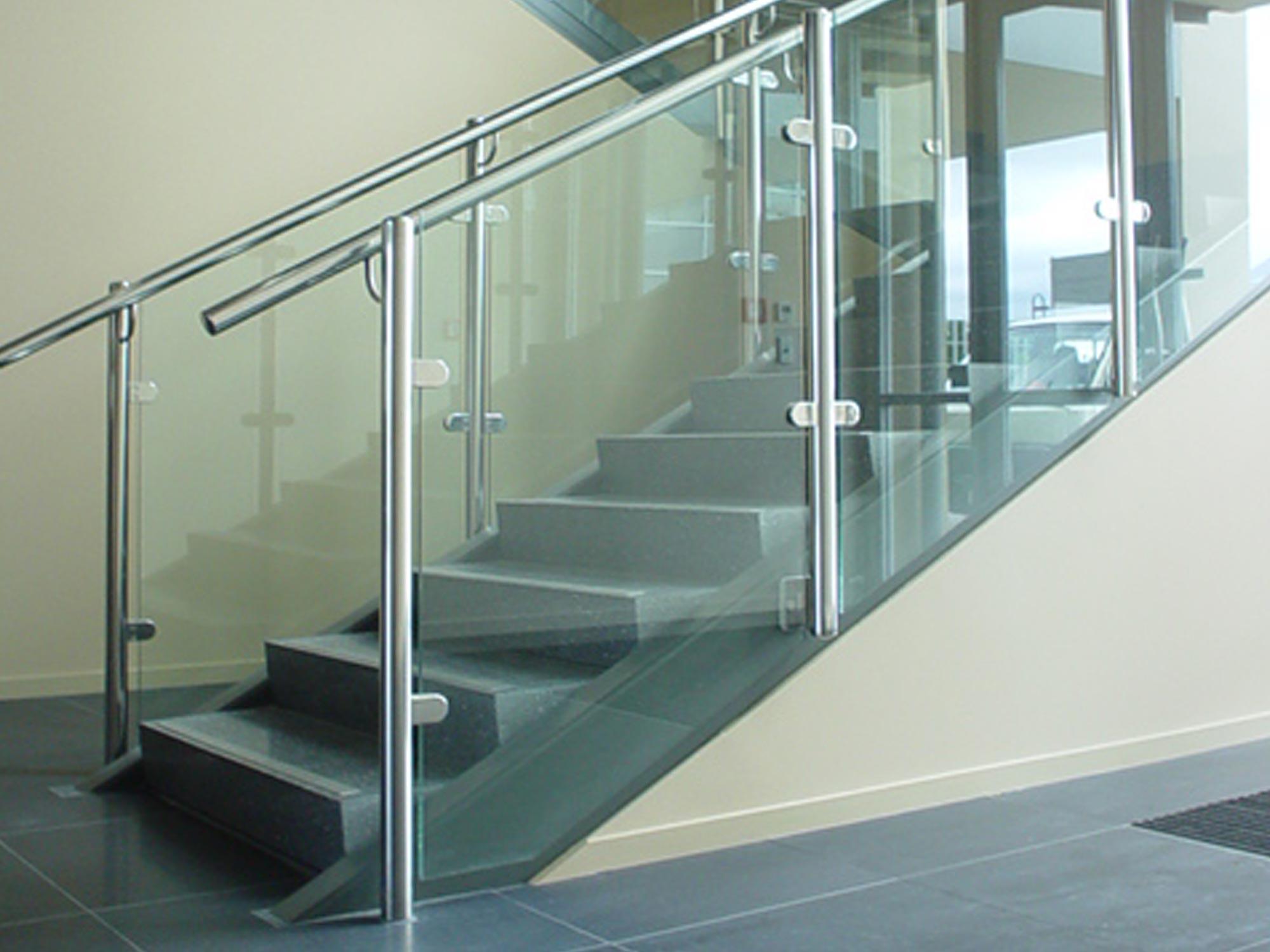 mackersey glass bottom stairwell hand railing