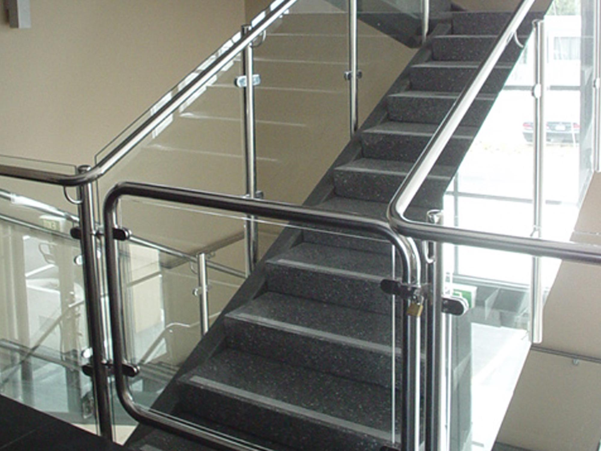 mackersey glass stairwell hand railing and gate