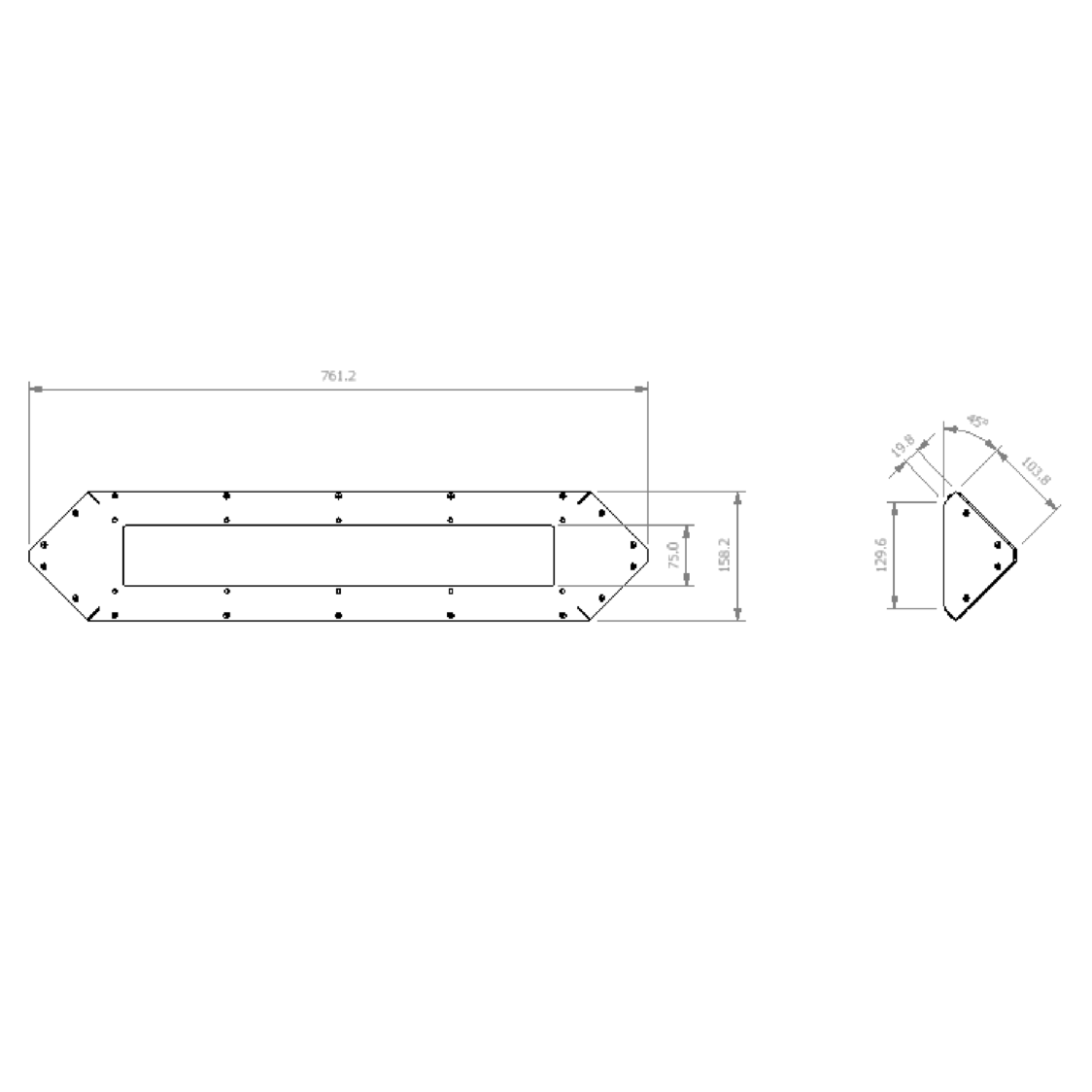 dura-lite 600 corner measurements
