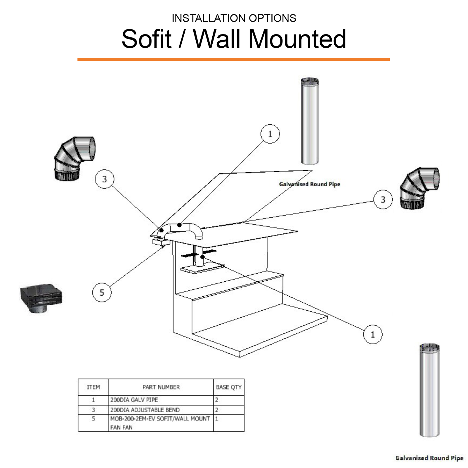 Range hood installation ducting options - sofit wall mounted